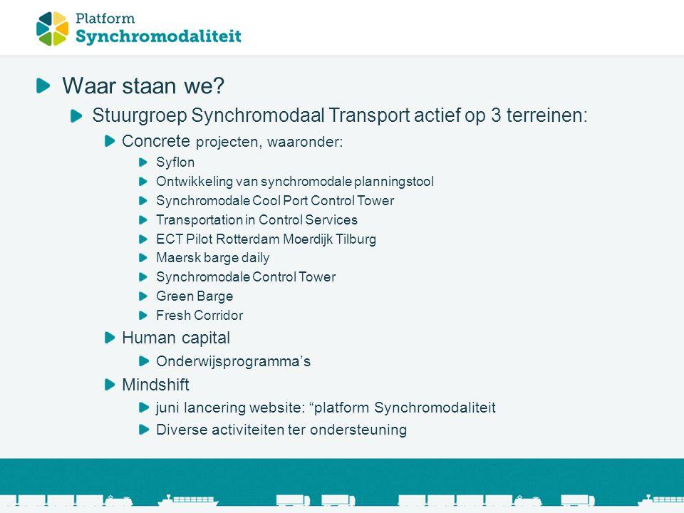 Waar staan we? Stuurgroep Synchromodaal Transport actief op 3 terreinen: Concrete projecten, waaronder: Syflon Ontwikkeling van synchromodale planning