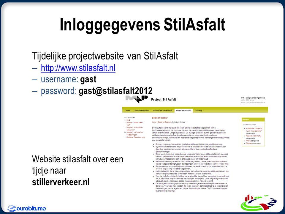 Tijdelijke projectwebsite van StilAsfalt – http://www.stilasfalt.nl http://www.stilasfalt.nl – username: gast – password: gast@stilasfalt2012 Website stilasfalt over een tijdje naar stillerverkeer.nl Inloggegevens StilAsfalt 15