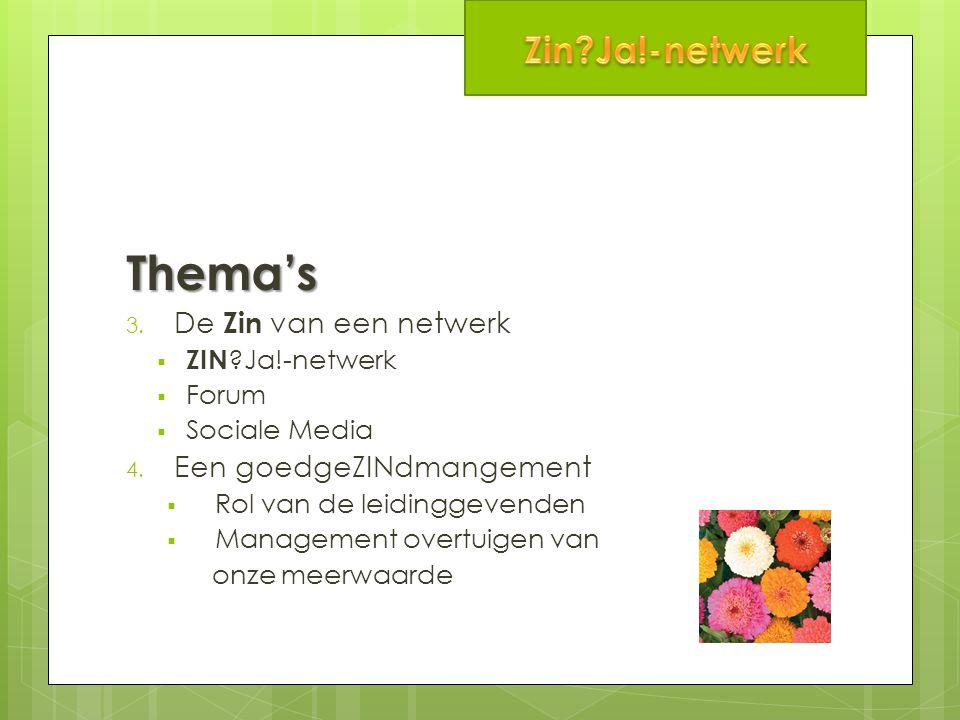 Thema's 3. De Zin van een netwerk  ZIN Ja!-netwerk  Forum  Sociale Media 4.