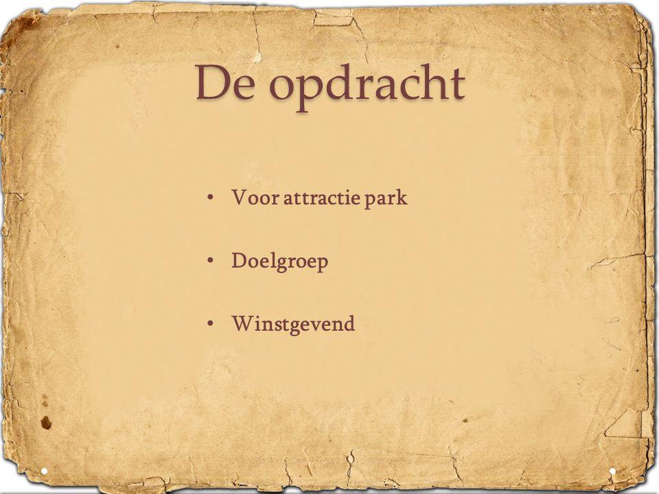 De opdracht • Voor attractie park • Doelgroep • Winstgevend