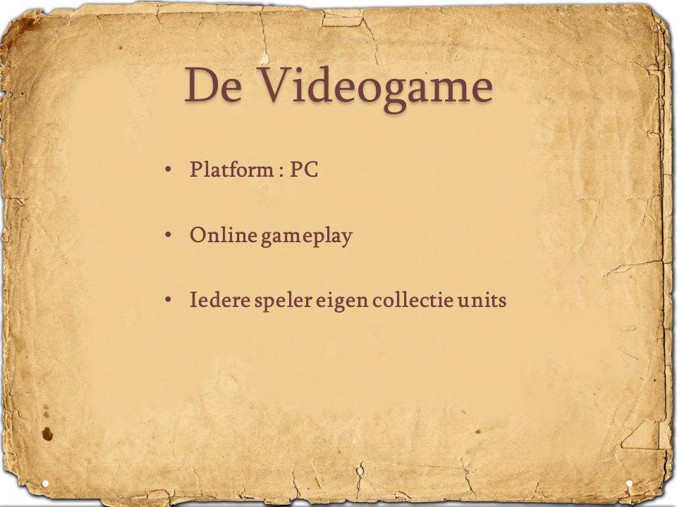 De Videogame • Platform : PC • Online gameplay • Iedere speler eigen collectie units
