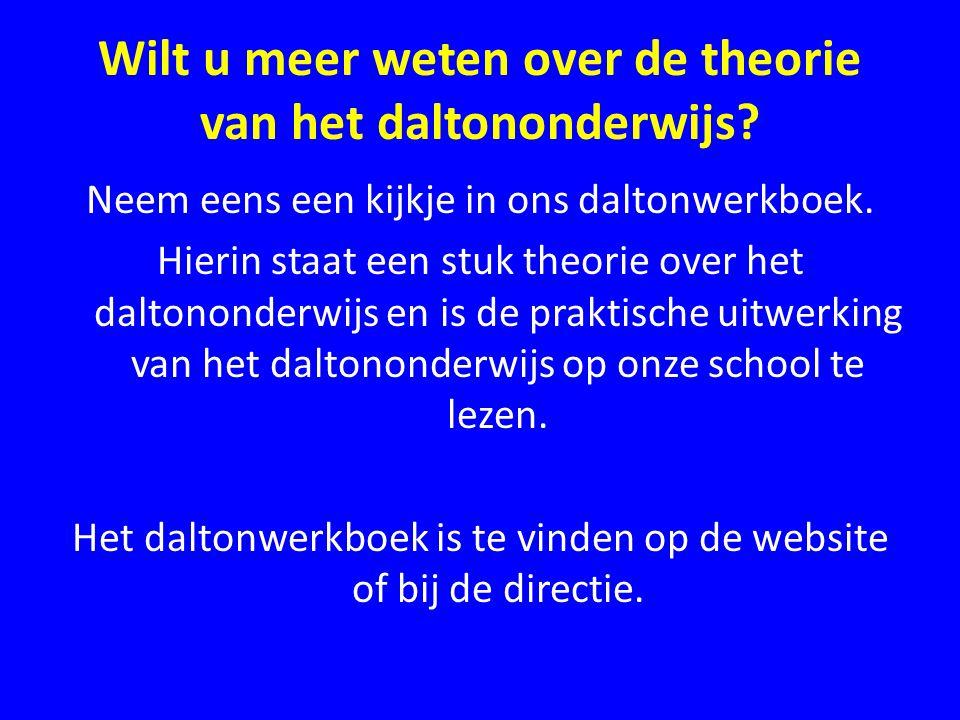 Wilt u meer weten over de theorie van het daltononderwijs? Neem eens een kijkje in ons daltonwerkboek. Hierin staat een stuk theorie over het daltonon