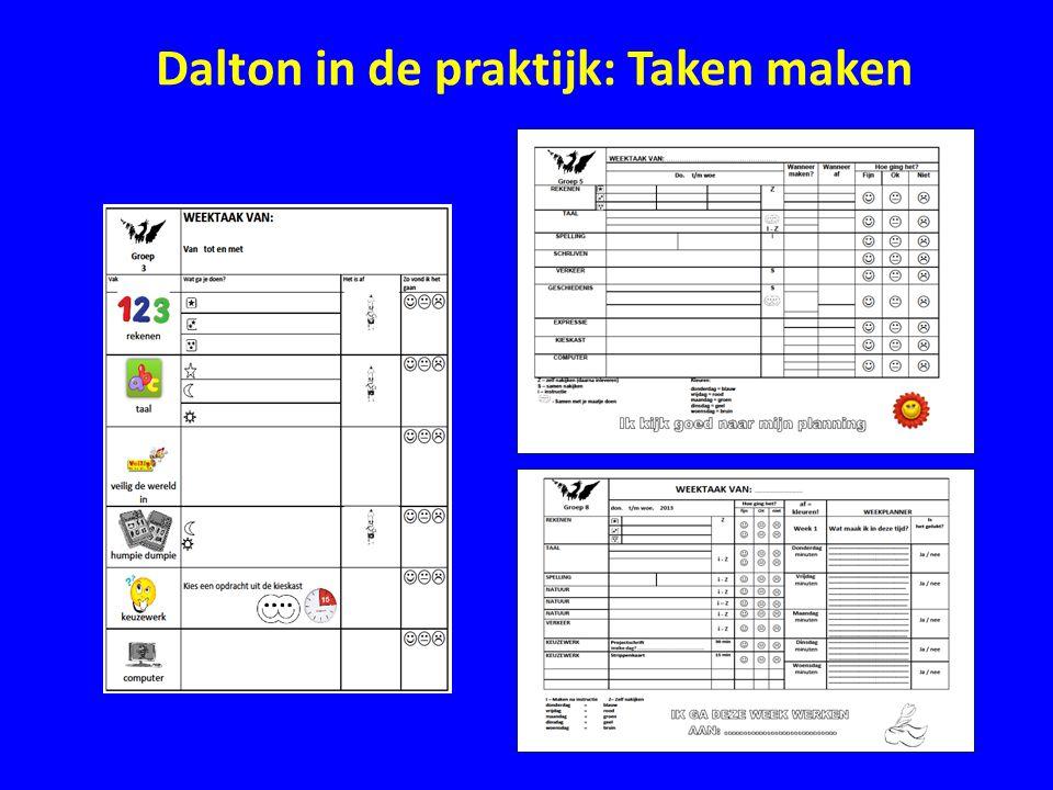 Dalton in de praktijk: Zelfstandig leren • Er is een opbouw van zelf werken naar het zelfverantwoordelijk leren • In elke groep wordt de zelfstandigheid uitgebouwd • Een voorbeeld hiervan zijn de presentaties van de zaakvakken die vanaf groep 3 gegeven worden