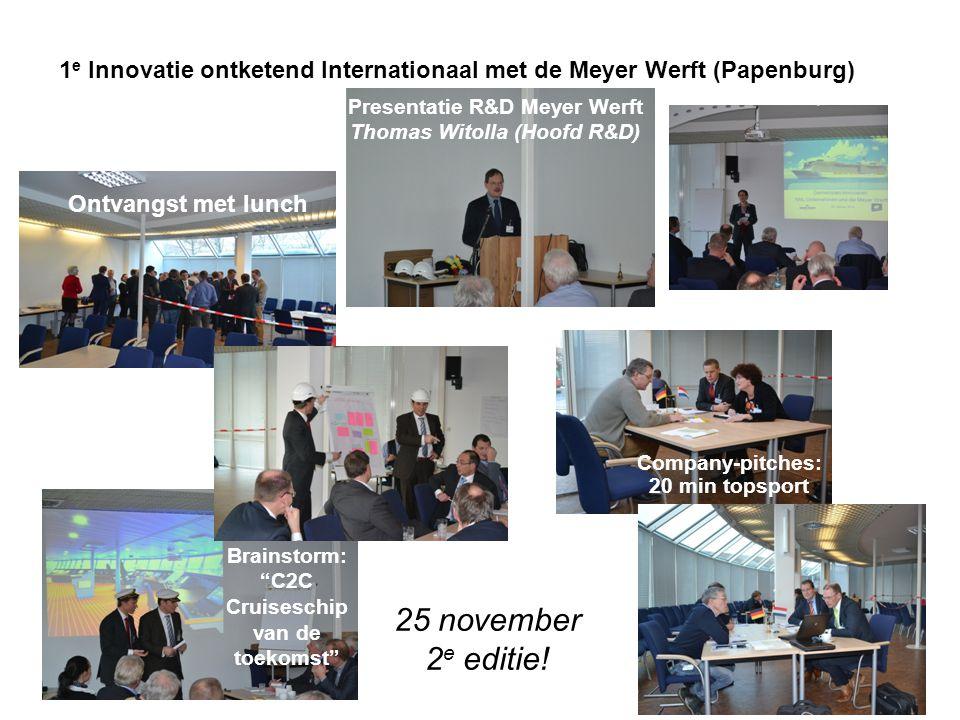 Presentatie R&D Meyer Werft Thomas Witolla (Hoofd R&D) Ontvangst met lunch 1 e Innovatie ontketend Internationaal met de Meyer Werft (Papenburg) Brain