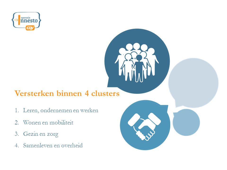 1.Leren, ondernemen en werken Versterken binnen 4 clusters 2.Wonen en mobiliteit 3.Gezin en zorg 4.Samenleven en overheid