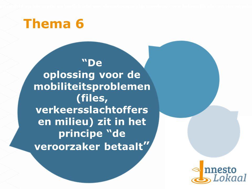 Thema 6 De oplossing voor de mobiliteitsproblemen (files, verkeersslachtoffers en milieu) zit in het principe de veroorzaker betaalt Inspanningen gericht op integratie en participatie van nieuwkomers zijn minstens even belangrijk als een streng migratiebeleid
