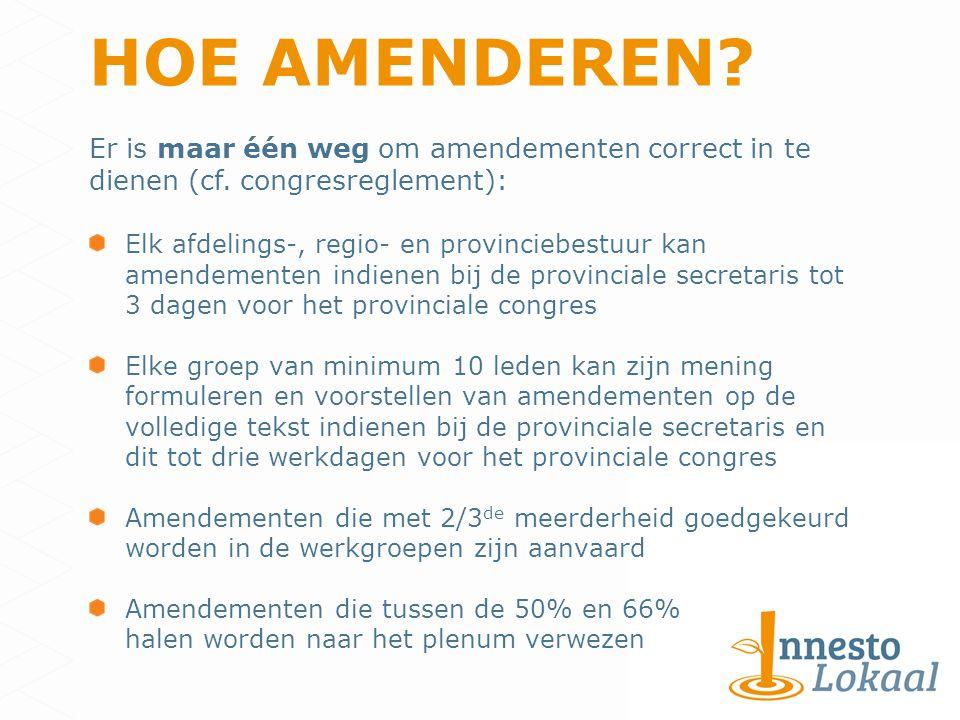 HOE AMENDEREN. Er is maar één weg om amendementen correct in te dienen (cf.
