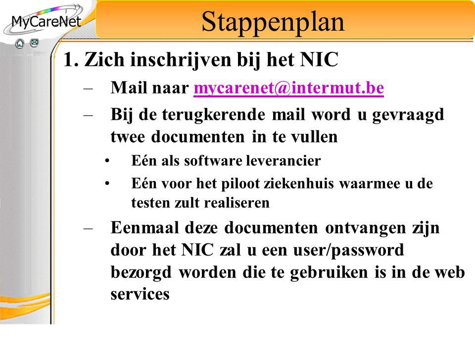 Stappenplan 1. Zich inschrijven bij het NIC –Mail naar mycarenet@intermut.bemycarenet@intermut.be –Bij de terugkerende mail word u gevraagd twee docum