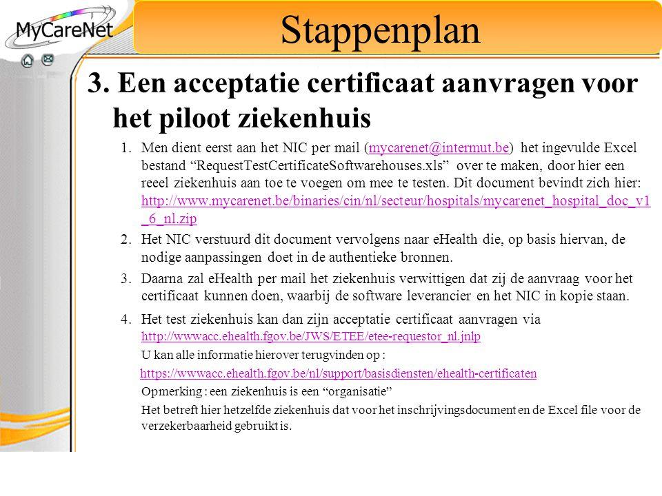 3. Een acceptatie certificaat aanvragen voor het piloot ziekenhuis 1.Men dient eerst aan het NIC per mail (mycarenet@intermut.be) het ingevulde Excel