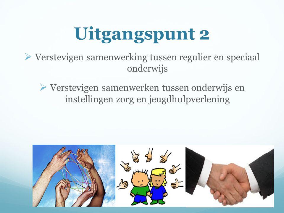 Uitgangspunt 2  Verstevigen samenwerking tussen regulier en speciaal onderwijs  Verstevigen samenwerken tussen onderwijs en instellingen zorg en jeugdhulpverlening 10