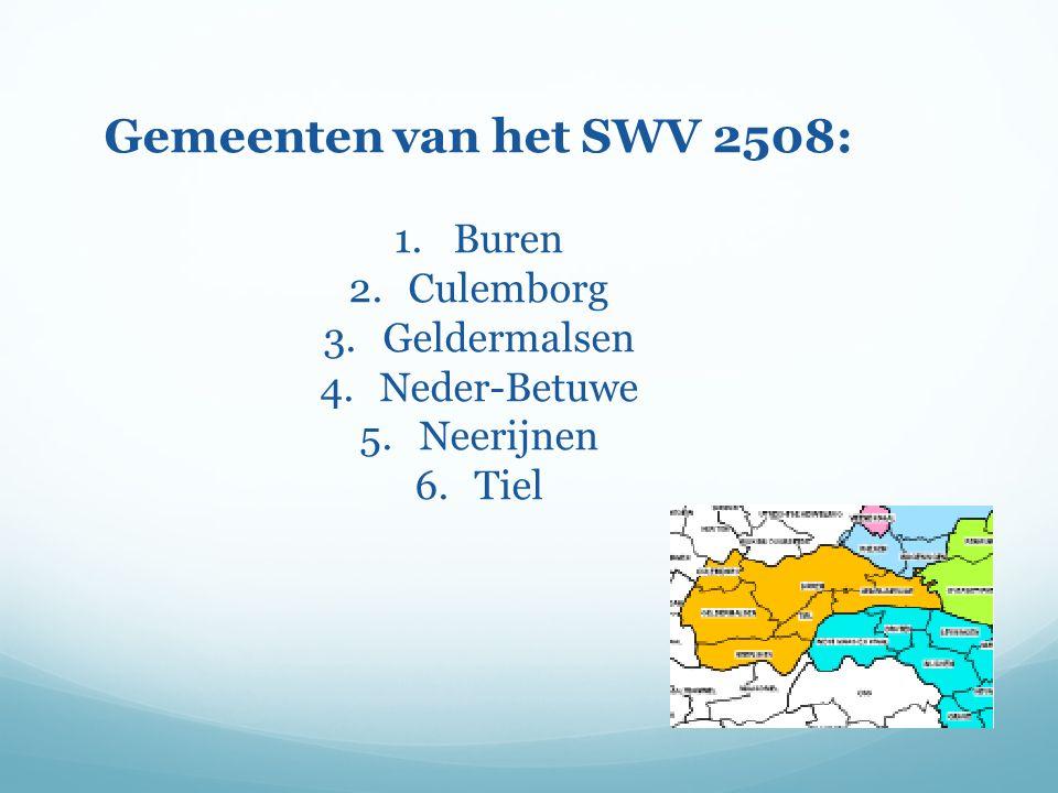 Gemeenten van het SWV 2508: 1.Buren 2.Culemborg 3.Geldermalsen 4.Neder-Betuwe 5.Neerijnen 6.Tiel