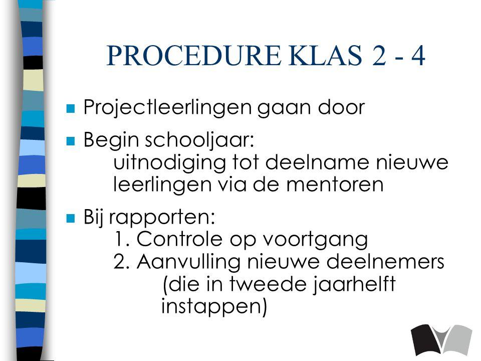 PROCEDURE KLAS 2 - 4 n Projectleerlingen gaan door n Begin schooljaar: uitnodiging tot deelname nieuwe leerlingen via de mentoren n Bij rapporten: 1.