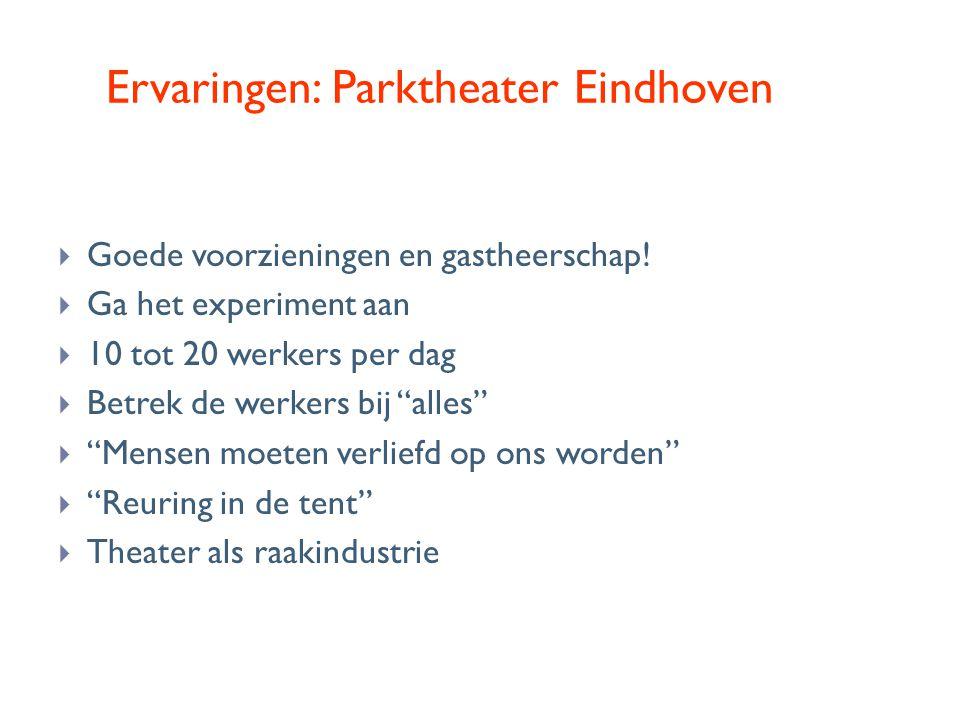 Ervaringen: Parktheater Eindhoven  Goede voorzieningen en gastheerschap!  Ga het experiment aan  10 tot 20 werkers per dag  Betrek de werkers bij
