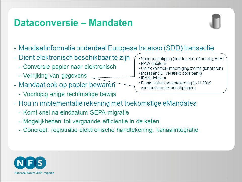 Dataconversie – Mandaten -Mandaatinformatie onderdeel Europese Incasso (SDD) transactie -Dient elektronisch beschikbaar te zijn -Conversie papier naar