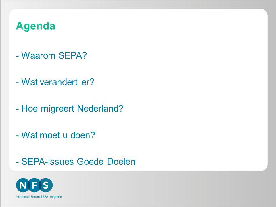 Agenda -Waarom SEPA? -Wat verandert er? -Hoe migreert Nederland? -Wat moet u doen? -SEPA-issues Goede Doelen 2