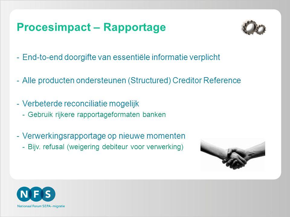 Procesimpact – Rapportage -End-to-end doorgifte van essentiële informatie verplicht -Alle producten ondersteunen (Structured) Creditor Reference -Verb