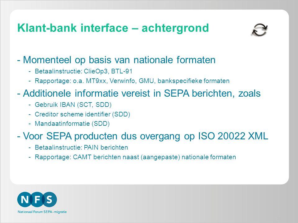 Klant-bank interface – achtergrond -Momenteel op basis van nationale formaten -Betaalinstructie: ClieOp3, BTL-91 -Rapportage: o.a. MT9xx, Verwinfo, GM