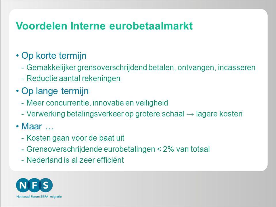 Voordelen Interne eurobetaalmarkt •Op korte termijn -Gemakkelijker grensoverschrijdend betalen, ontvangen, incasseren -Reductie aantal rekeningen •Op