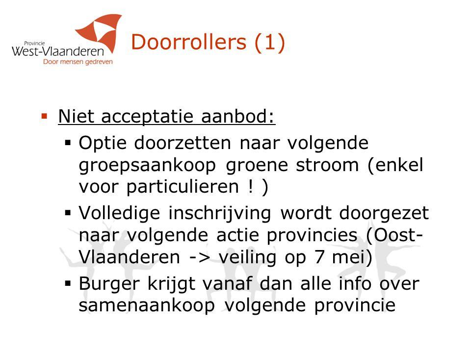 Doorrollers (1)  Niet acceptatie aanbod:  Optie doorzetten naar volgende groepsaankoop groene stroom (enkel voor particulieren .