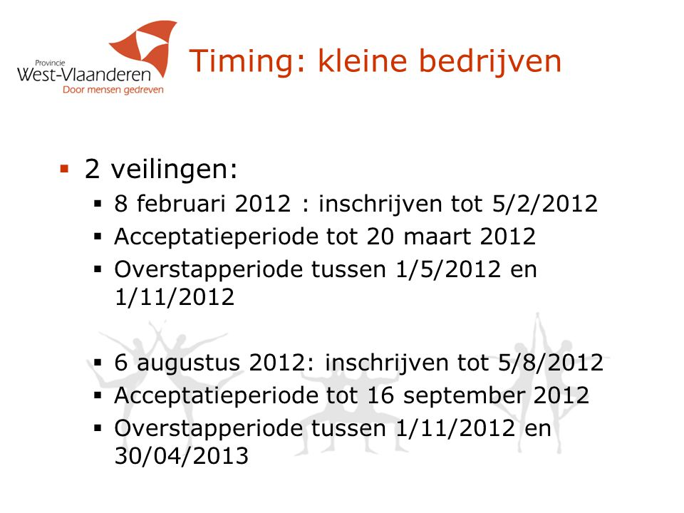 Timing: kleine bedrijven  2 veilingen:  8 februari 2012 : inschrijven tot 5/2/2012  Acceptatieperiode tot 20 maart 2012  Overstapperiode tussen 1/5/2012 en 1/11/2012  6 augustus 2012: inschrijven tot 5/8/2012  Acceptatieperiode tot 16 september 2012  Overstapperiode tussen 1/11/2012 en 30/04/2013