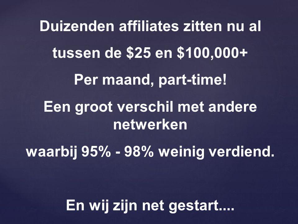 Duizenden affiliates zitten nu al tussen de $25 en $100,000+ Per maand, part-time.