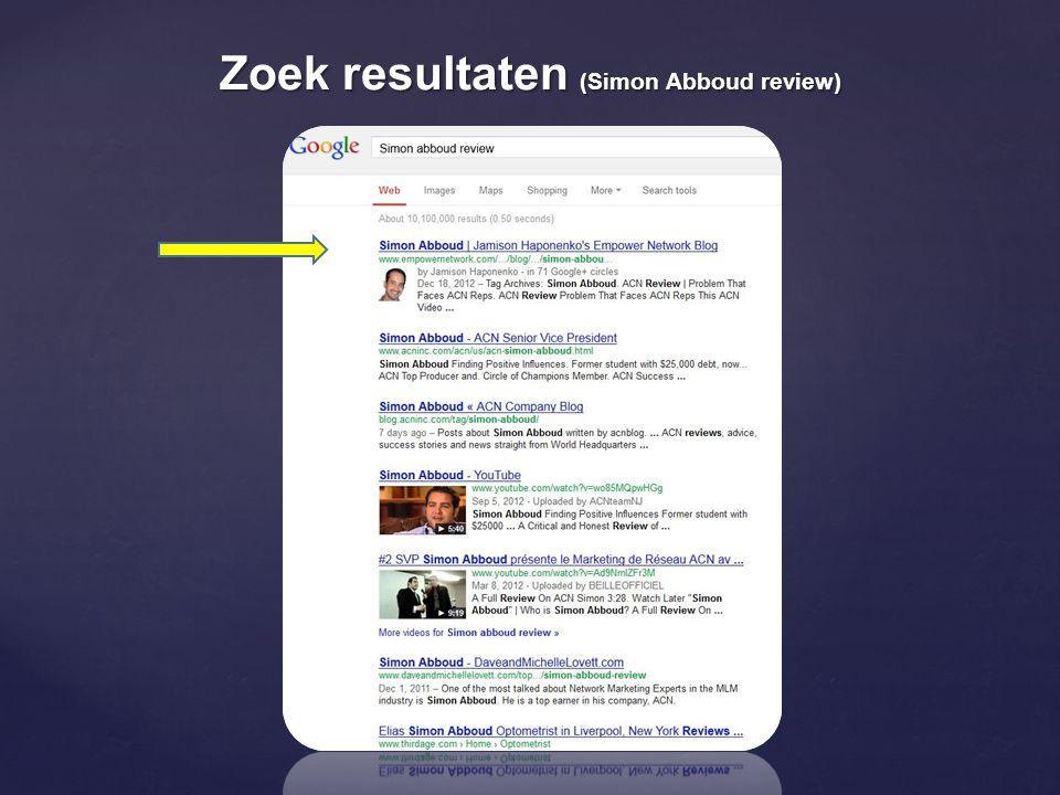 Zoek resultaten (Simon Abboud review)