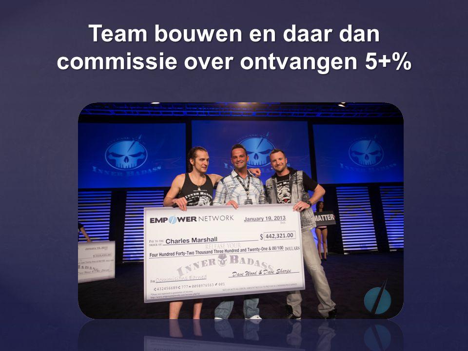 Team bouwen en daar dan commissie over ontvangen 5+%
