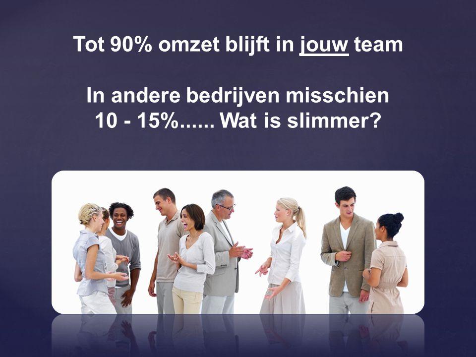 Tot 90% omzet blijft in jouw team In andere bedrijven misschien 10 - 15%...... Wat is slimmer