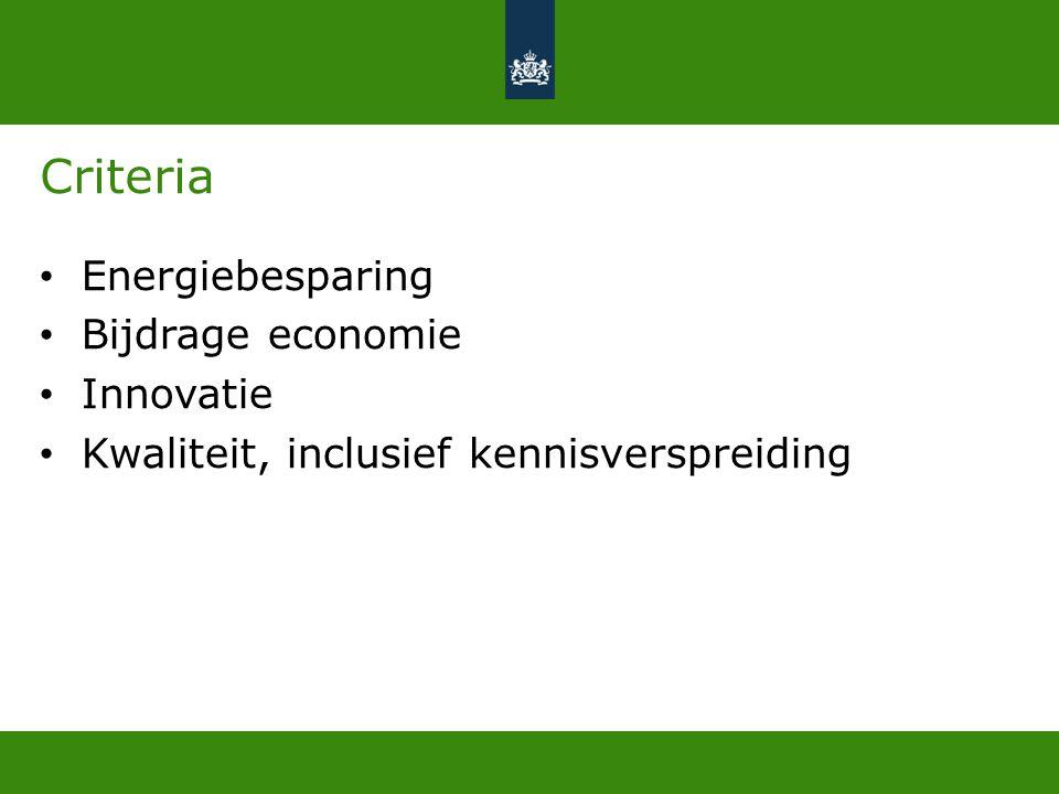 Criteria • Energiebesparing • Bijdrage economie • Innovatie • Kwaliteit, inclusief kennisverspreiding
