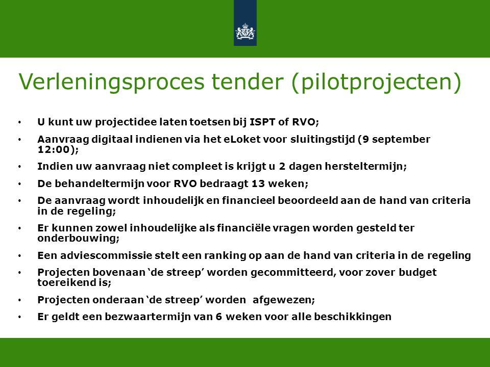 Verleningsproces tender (pilotprojecten) • U kunt uw projectidee laten toetsen bij ISPT of RVO; • Aanvraag digitaal indienen via het eLoket voor sluit