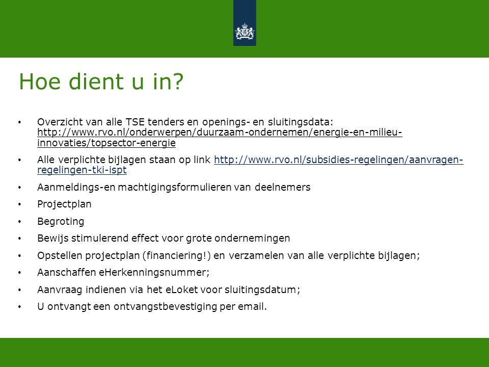 Hoe dient u in? • Overzicht van alle TSE tenders en openings- en sluitingsdata: http://www.rvo.nl/onderwerpen/duurzaam-ondernemen/energie-en-milieu- i