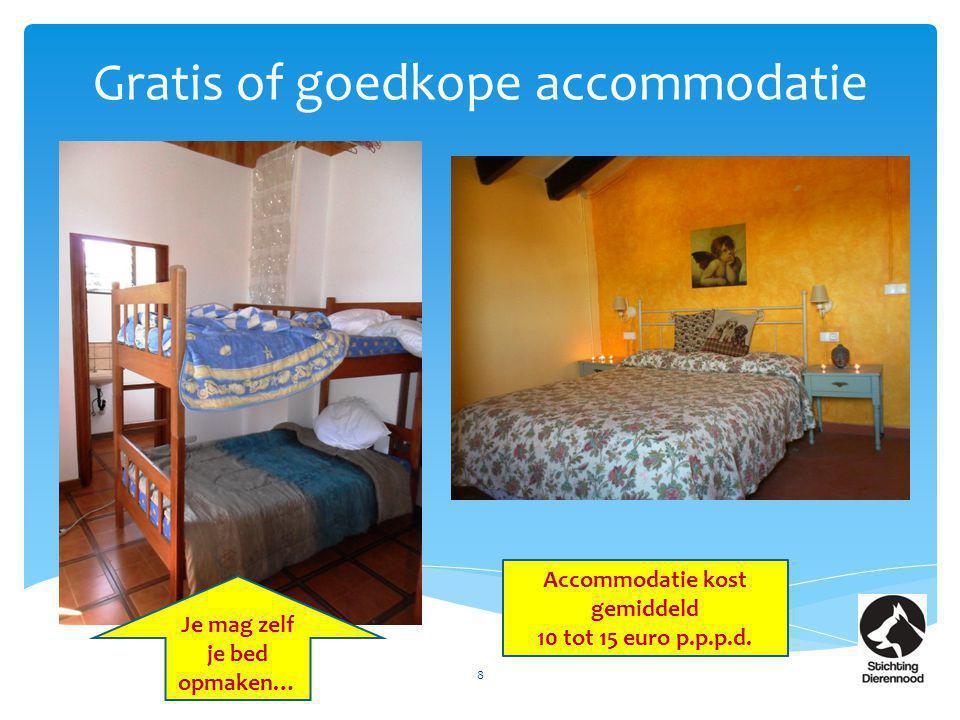 Gratis of goedkope accommodatie 8 Accommodatie kost gemiddeld 10 tot 15 euro p.p.p.d. Je mag zelf je bed opmaken…