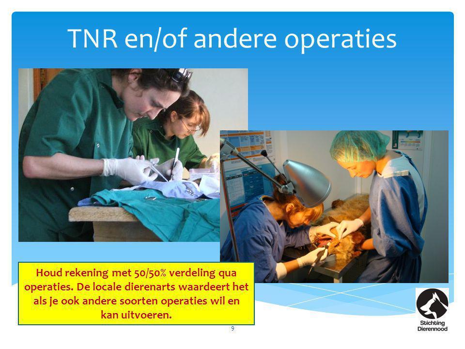 TNR en/of andere operaties 9 Houd rekening met 50/50% verdeling qua operaties. De locale dierenarts waardeert het als je ook andere soorten operaties