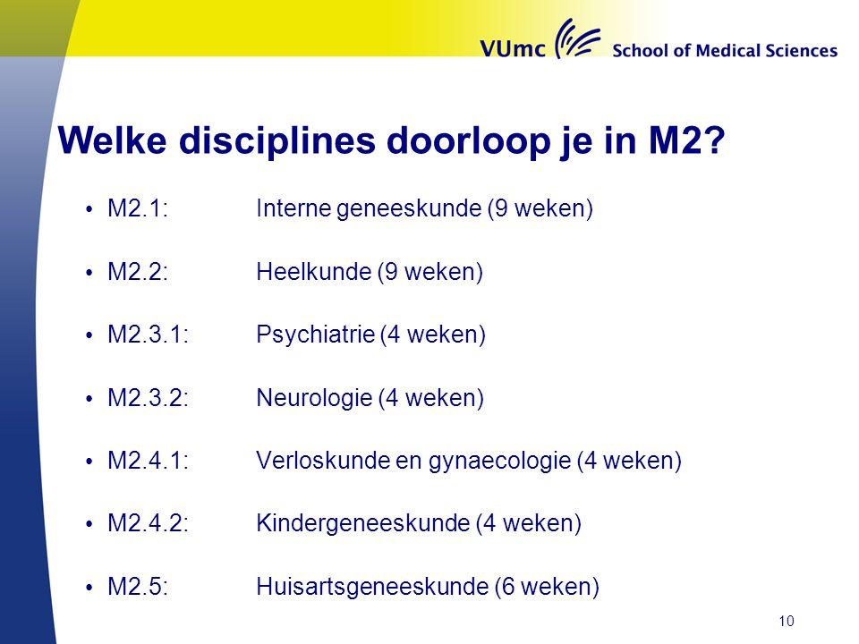 Welke disciplines doorloop je in M2? • M2.1:Interne geneeskunde (9 weken) • M2.2:Heelkunde (9 weken) • M2.3.1: Psychiatrie (4 weken) • M2.3.2: Neurolo