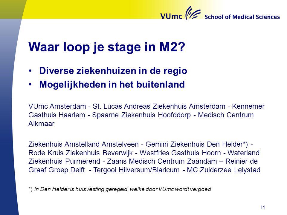 Waar loop je stage in M2? •Diverse ziekenhuizen in de regio •Mogelijkheden in het buitenland VUmc Amsterdam - St. Lucas Andreas Ziekenhuis Amsterdam -