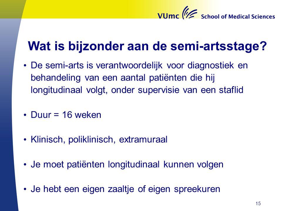Wat is bijzonder aan de semi-artsstage? • De semi-arts is verantwoordelijk voor diagnostiek en behandeling van een aantal patiënten die hij longitudin