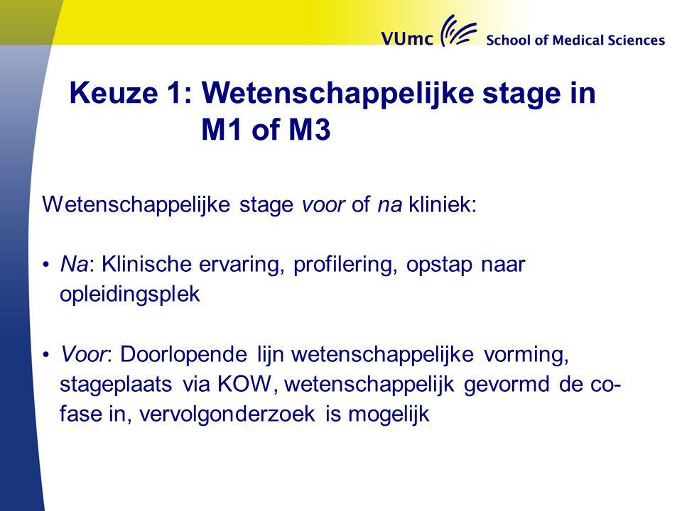 Keuze 1: Wetenschappelijke stage in M1 of M3 Wetenschappelijke stage voor of na kliniek: • Na: Klinische ervaring, profilering, opstap naar opleidings