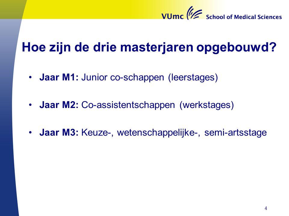 Hoe zijn de drie masterjaren opgebouwd? •Jaar M1: Junior co-schappen (leerstages) •Jaar M2: Co-assistentschappen (werkstages) •Jaar M3: Keuze-, wetens