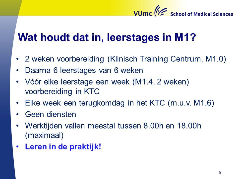 Wat houdt dat in, leerstages in M1? •2 weken voorbereiding (Klinisch Training Centrum, M1.0) •Daarna 6 leerstages van 6 weken •Vóór elke leerstage een