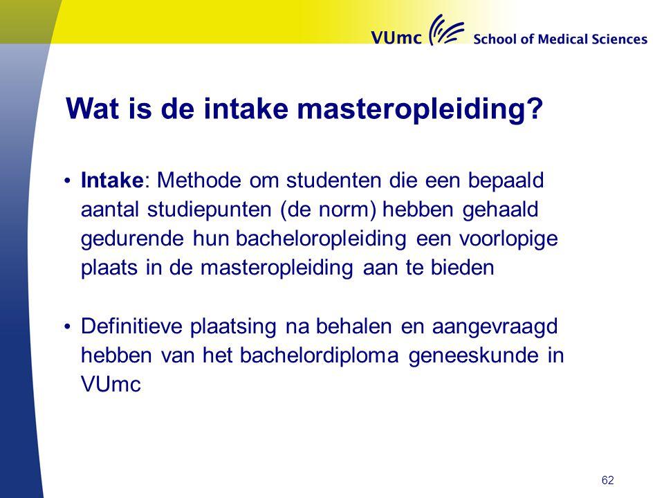 Wat is de intake masteropleiding? • Intake: Methode om studenten die een bepaald aantal studiepunten (de norm) hebben gehaald gedurende hun bachelorop