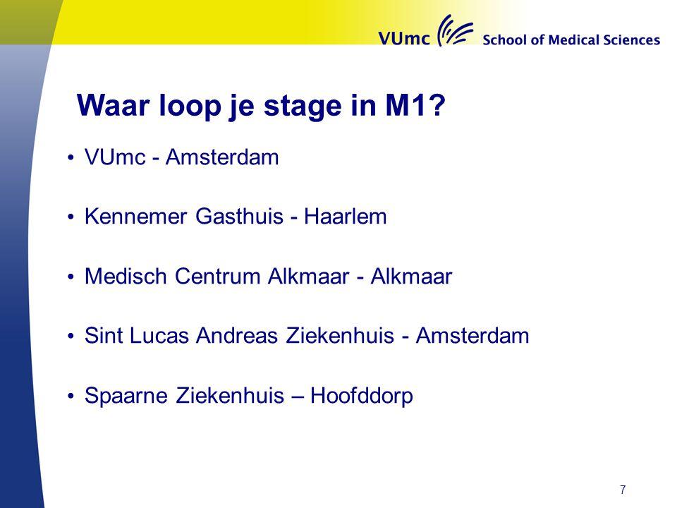Waar loop je stage in M1? • VUmc - Amsterdam • Kennemer Gasthuis - Haarlem • Medisch Centrum Alkmaar - Alkmaar • Sint Lucas Andreas Ziekenhuis - Amste