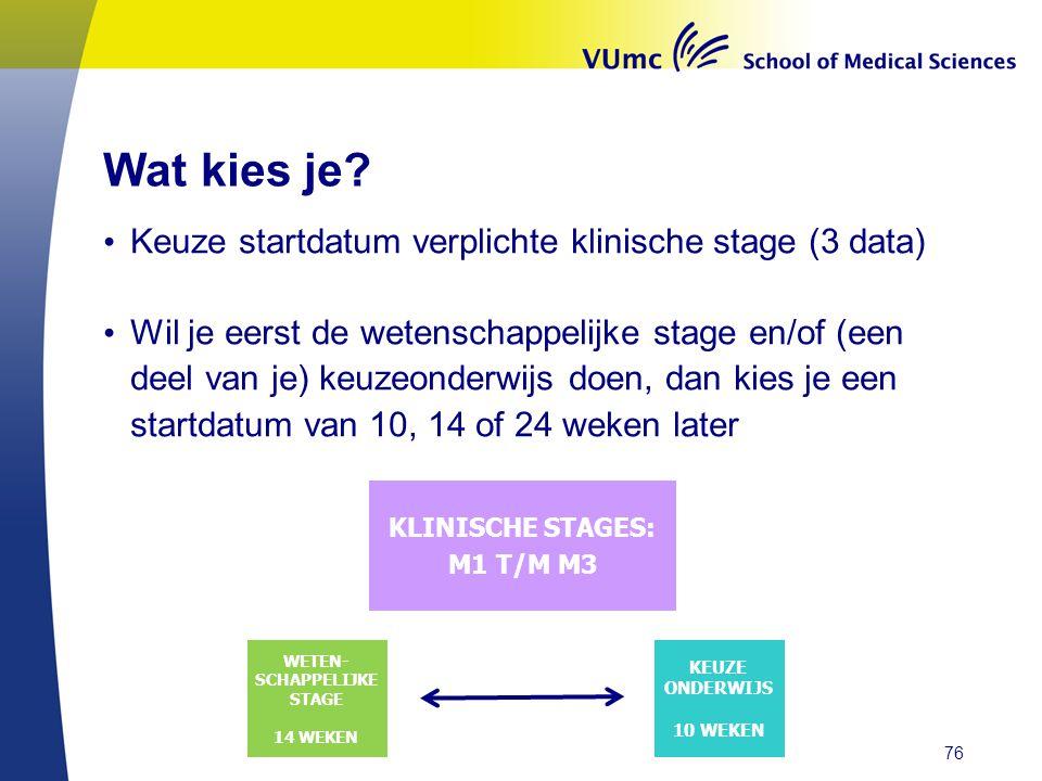 Wat kies je? • Keuze startdatum verplichte klinische stage (3 data) • Wil je eerst de wetenschappelijke stage en/of (een deel van je) keuzeonderwijs d