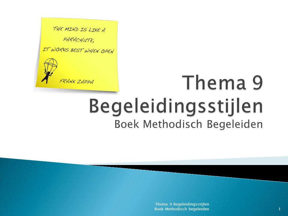 Schema voorbereiding van een les Thema 9 Begeleidingsstijlen Boek Methodisch begeleiden22