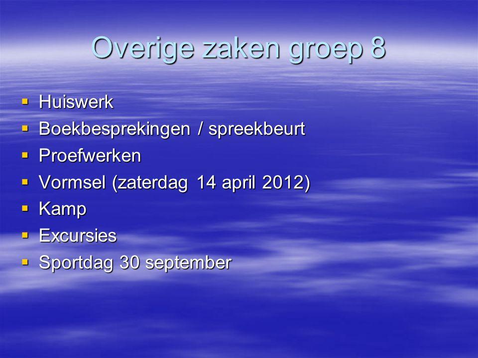Overige zaken groep 8  Huiswerk  Boekbesprekingen / spreekbeurt  Proefwerken  Vormsel (zaterdag 14 april 2012)  Kamp  Excursies  Sportdag 30 se