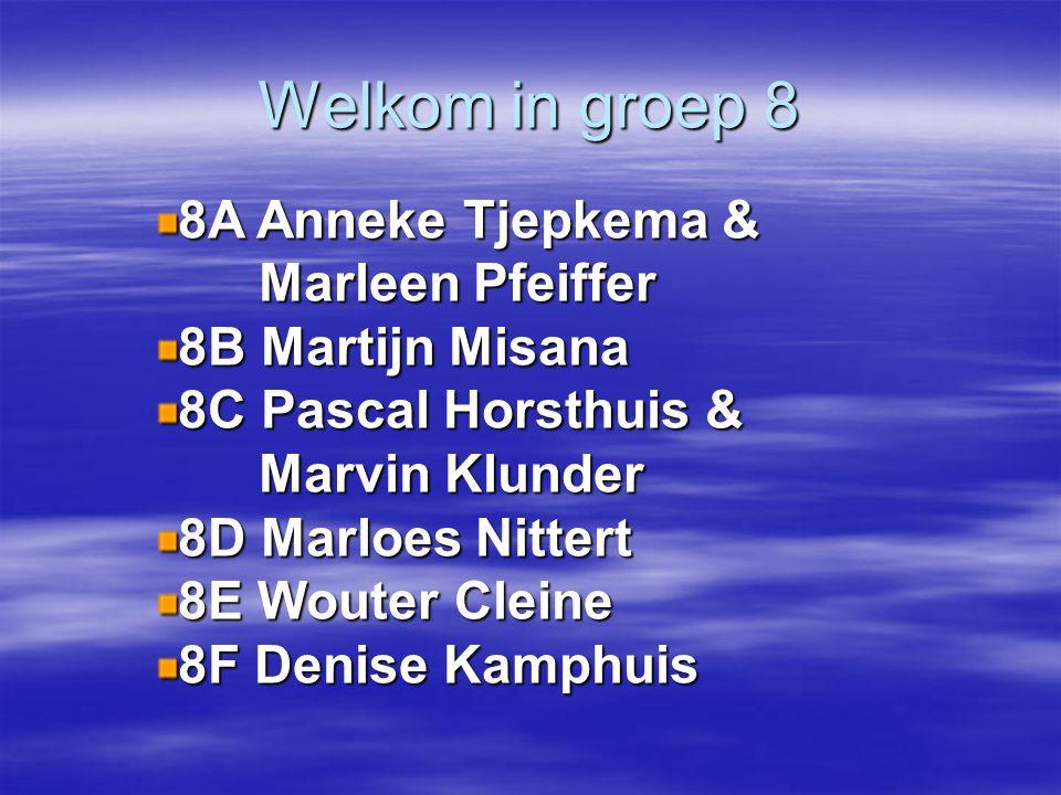 Welkom in groep 8 8A Anneke Tjepkema & Marleen Pfeiffer Marleen Pfeiffer 8B Martijn Misana 8C Pascal Horsthuis & Marvin Klunder Marvin Klunder 8D Marl