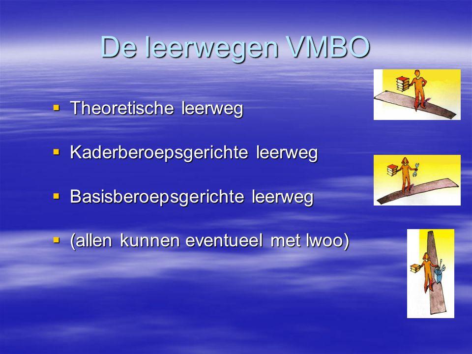 De leerwegen VMBO  Theoretische leerweg  Kaderberoepsgerichte leerweg  Basisberoepsgerichte leerweg  (allen kunnen eventueel met lwoo)