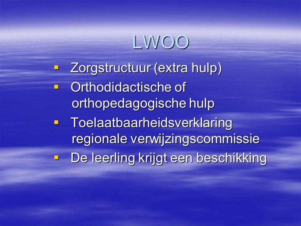 LWOO  Zorgstructuur (extra hulp)  Orthodidactische of orthopedagogische hulp  Toelaatbaarheidsverklaring regionale verwijzingscommissie  De leerli