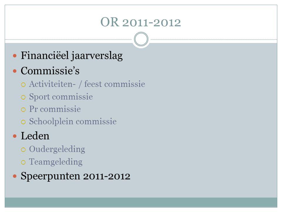 OR 2011-2012  Financiëel jaarverslag  Commissie's  Activiteiten- / feest commissie  Sport commissie  Pr commissie  Schoolplein commissie  Leden  Oudergeleding  Teamgeleding  Speerpunten 2011-2012