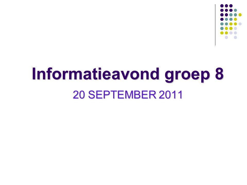 Informatieavond groep 8 20 SEPTEMBER 2011