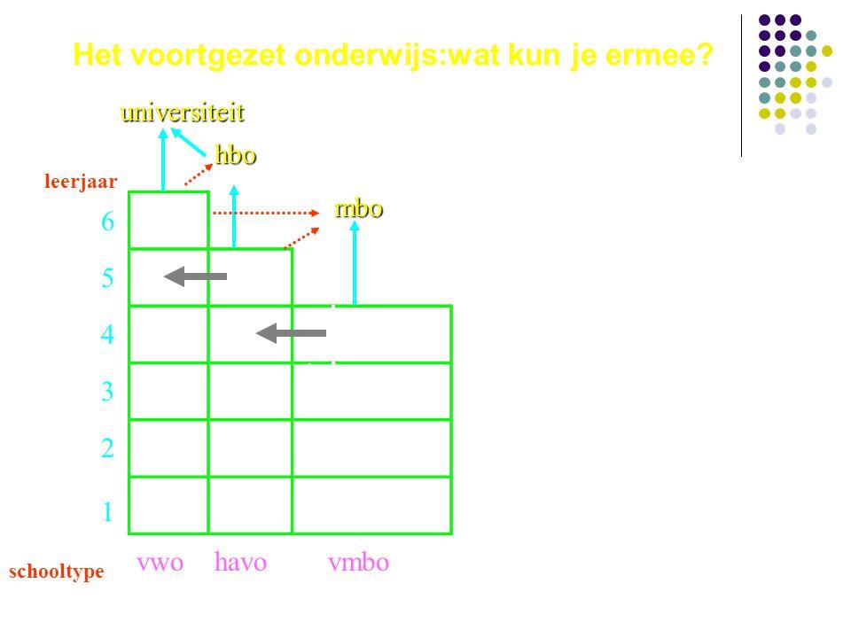 De bovenbouw van mavo en vbo: de leerwegen leerjaar 6 5 4 3 2 1 schooltype vwohavo vmbo theoretisch gemengd kader- beroeps- gericht basis- beroeps- gericht
